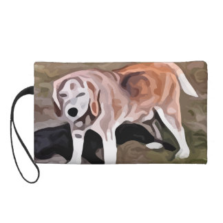 beagle painting wristlet purse