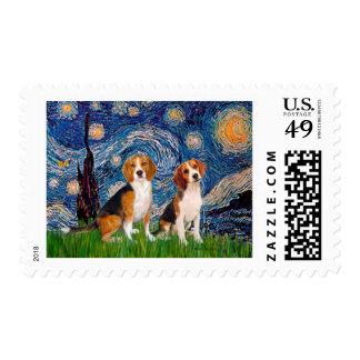 Beagle Pair - Starry Night Postage
