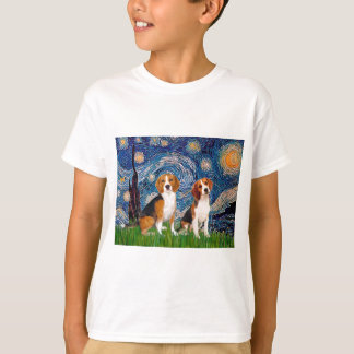 Beagle Pair - Starry Night T-Shirt