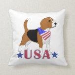 Beagle patriótico de los E.E.U.U. Cojines