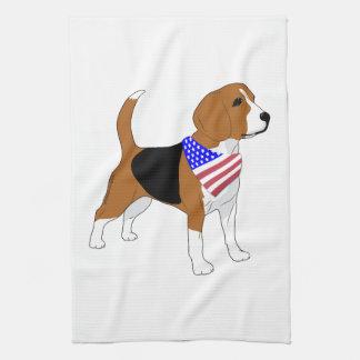 Beagle patriótico del pañuelo de la bandera toalla