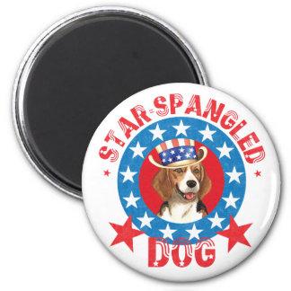 Beagle patriótico imán redondo 5 cm
