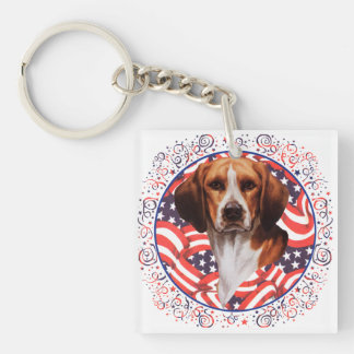 Beagle patriótico llavero cuadrado acrílico a doble cara