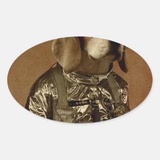 Beagle Pegatina Ovalada
