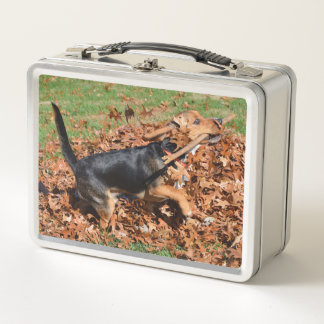 Beagle Playing With Stick In The Leaves Metal Lunch Box
