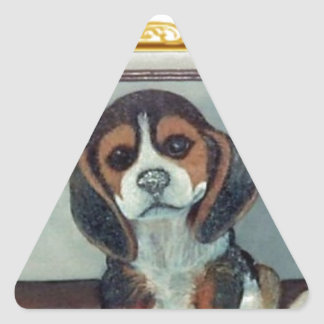 Beagle Pup Painting Triangle Sticker