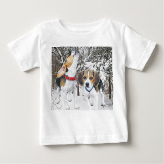 Beagle Puppies in Snowy Woods Baby Shirt