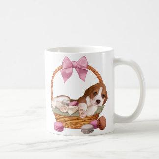 Beagle puppy and macaroons coffee mug
