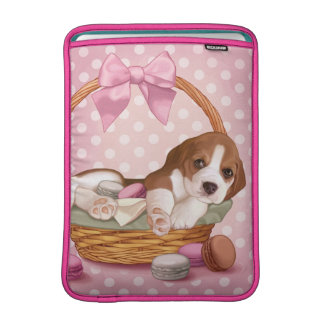 Beagle puppy and macaroons MacBook air sleeve