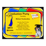 Beagle Puppy Blue Graduation Growler Party Invites