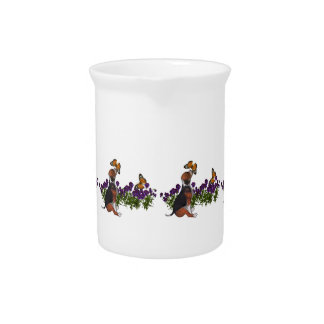 Beagle Puppy Butterflies And Flowers Beverage Pitcher