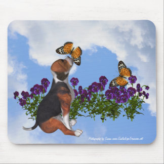 Beagle Puppy Butterflies Pansies Animal Mousepad