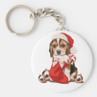 Beagle Puppy Christmas Keychain