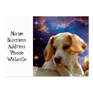 beagle puppy on the wall  looking at the universe large business card