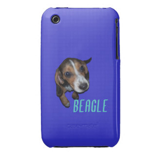Beagle Puppy Sitting - Blue Background Case-Mate iPhone 3 Cases