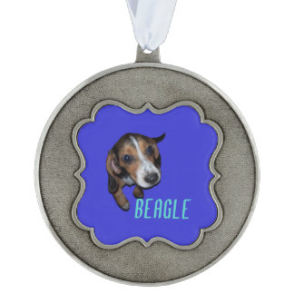 Beagle Puppy Sitting - Blue Background Scalloped Pewter Ornament