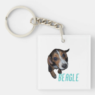 Beagle Puppy Sitting - Customize Background Color Acrylic Keychains