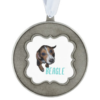 Beagle Puppy Sitting - Customize Background Color Scalloped Ornament