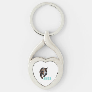Beagle Puppy Sitting - Customize Background Color Key Chains
