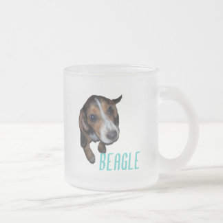 Beagle Puppy Sitting Down 10 Oz Frosted Glass Coffee Mug