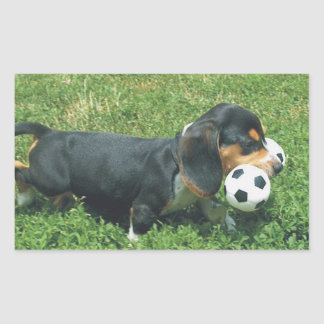 Beagle Puppy Toting Soccer Squeaky Toy Stickers