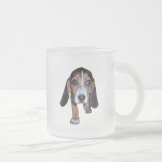 Beagle Puppy Walking - Front View 10 Oz Frosted Glass Coffee Mug