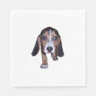 Beagle Puppy Walking - Front View Standard Luncheon Napkin