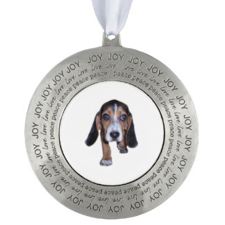 Beagle Puppy Walking - Pick Your Background Color Round Ornament