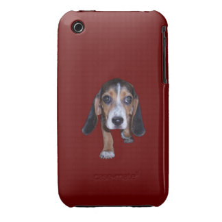 Beagle Puppy Walking - Red Background Color iPhone 3 Cases