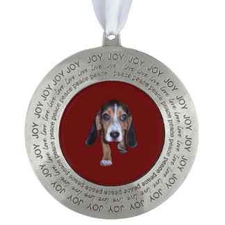 Beagle Puppy Walking - Red Background Color Round Ornament