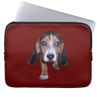 Beagle Puppy Walking - Red Background Color Laptop Sleeves