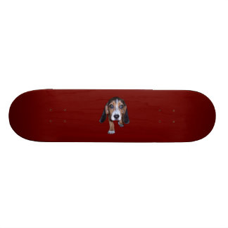 Beagle Puppy Walking - Red Background Color Skateboard Decks
