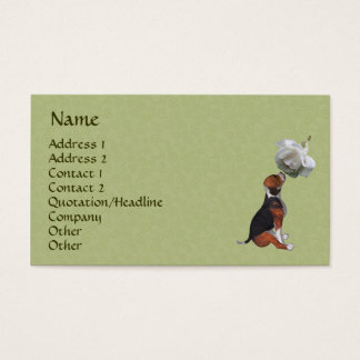 Beagle Puppy White Rose Cute Business Card