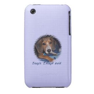 Beagle Puppy with Attitude - Blue Background Color iPhone 3 Case-Mate Cases