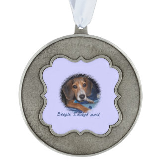 Beagle Puppy with Attitude - Blue Background Color Scalloped Ornament