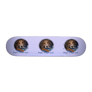 Beagle Puppy with Attitude - Blue Background Color Skateboard Decks