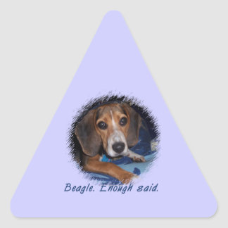 Beagle Puppy with Attitude - Blue Background Color Triangle Stickers