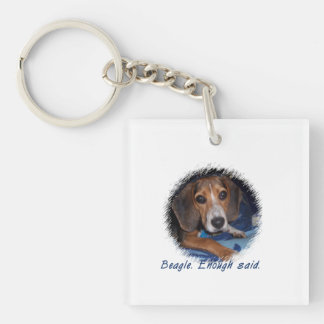 Beagle Puppy With Attitude - Custom Background Square Acrylic Keychains