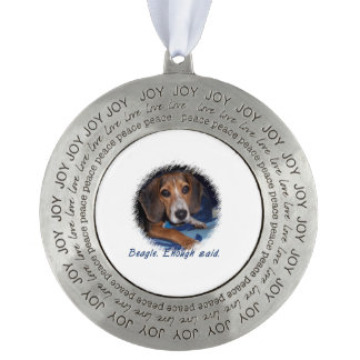 Beagle Puppy With Attitude - Custom Background Round Pewter Ornament