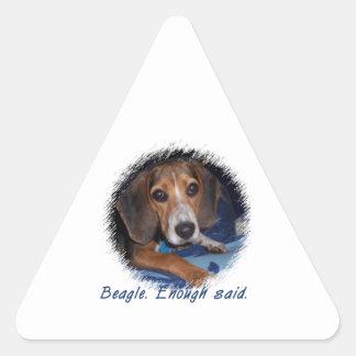Beagle Puppy With Attitude - Custom Background Triangle Sticker