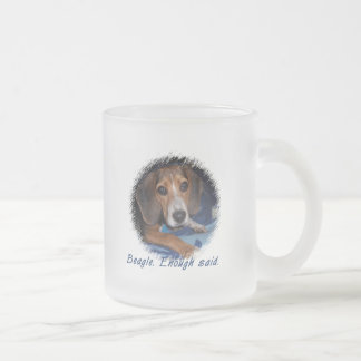 Beagle Puppy with Attitude Frosted Glass Coffee Mug
