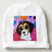 Beagle Puppy with Balloons Baby Beanie