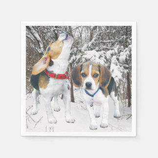 Beagle Pups in Snowy Woods Napkins