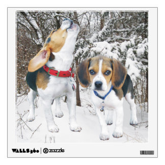Beagle Pups in Snowy Woods Wall Decal