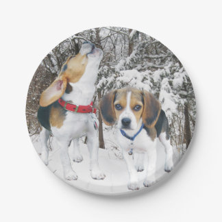 Beagle Pups in the Snowy Woods Paper Plate