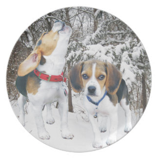 Beagle Pups in the Snowy Woods Plate