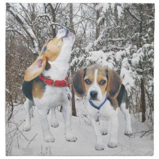 Beagle Pups in Woodland Snow Cloth Napkins
