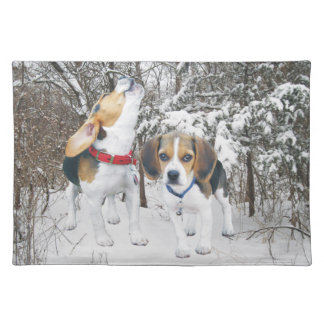 Beagle Pups In Woodland Snow Placemat