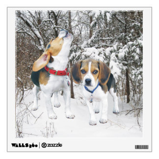 Beagle Pups in Woodland Snow Wall Decal
