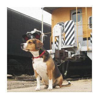 Beagle que espera en tren - estación de Victoria,  Impresiones En Lona